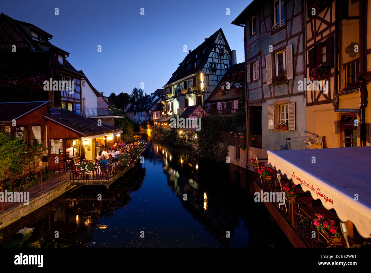 Historic centre with restaurants, Colmar, Alsace, France, Europe Stock Photo