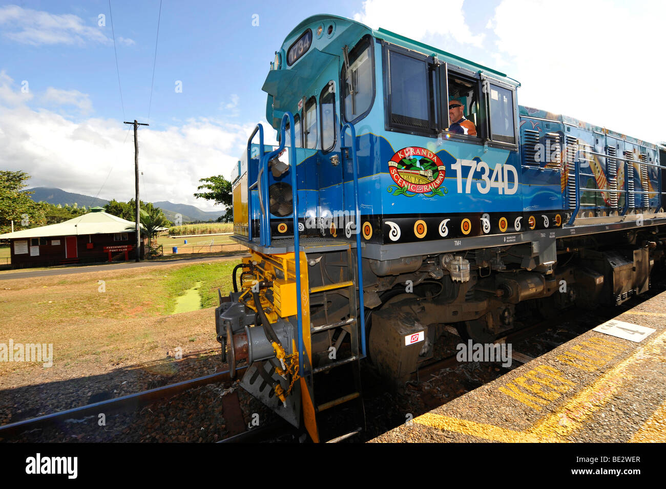 Diesel locomotives and carriages, Kuranda Scenic Railway, historic station, Freshwater Station, Cairns, Queensland, Stock Photo
