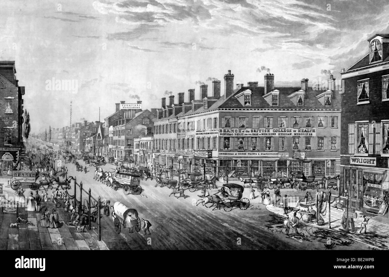 Broadway and Canal Street , New York City in 1836 - Stock Image