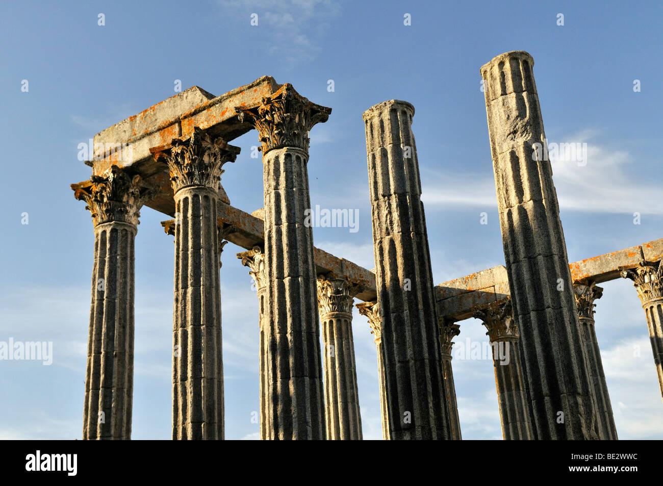 Roman Temple of Diana in Evora, UNESCO World Heritage Site, Alentejo, Portugal, Europe Stock Photo