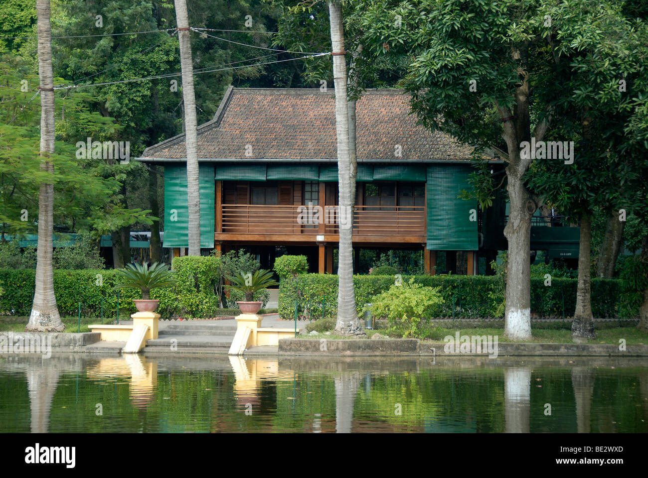 Wooden house on stilts, Ho Chi Minh Lake House, Hanoi, Vietnam, Southeast Asia, Asia - Stock Image