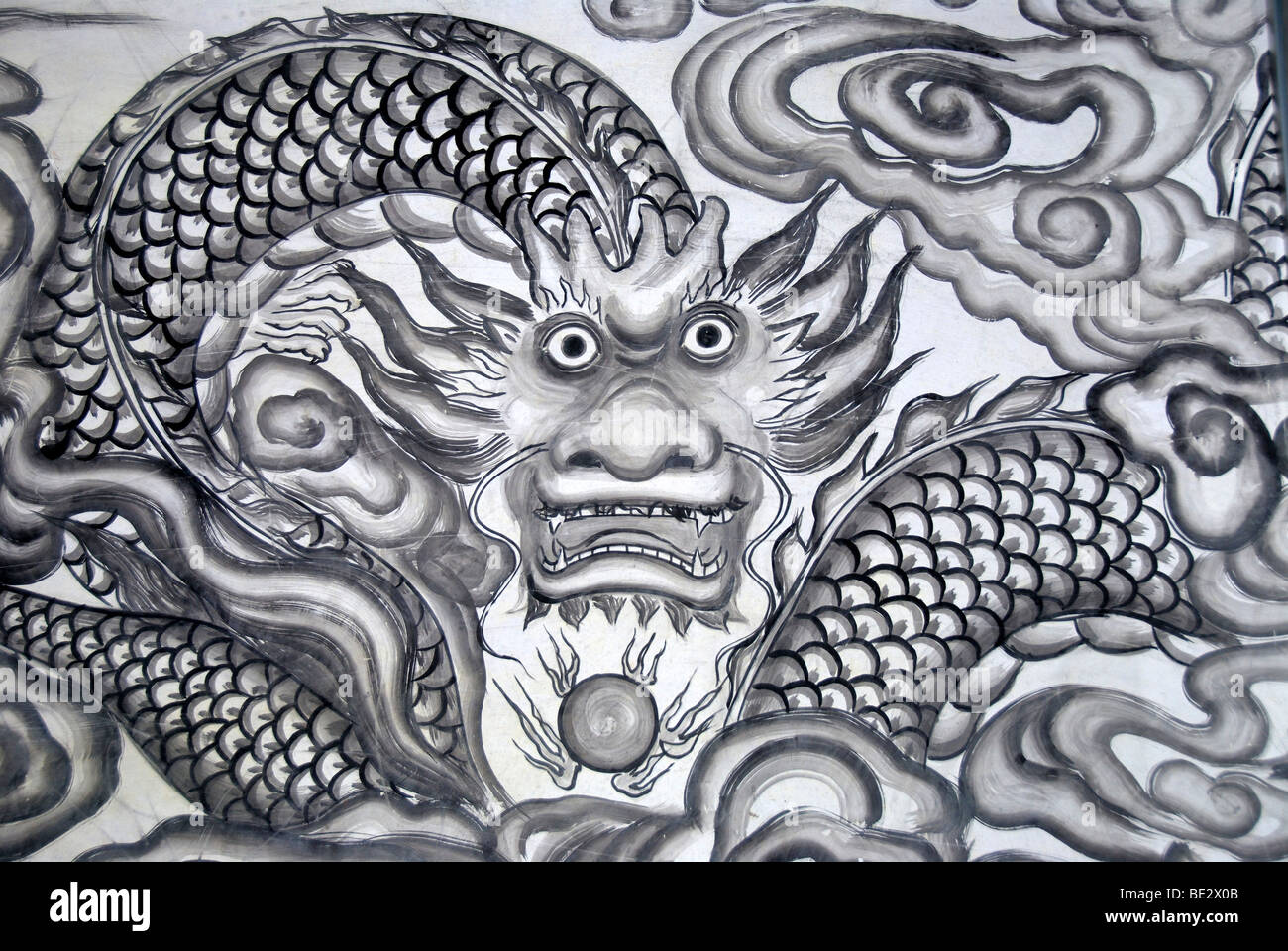 Chinese Buddhism, mural, dragon, temple in Xinji, Yunnan Province, People's Republic of China, Asia - Stock Image