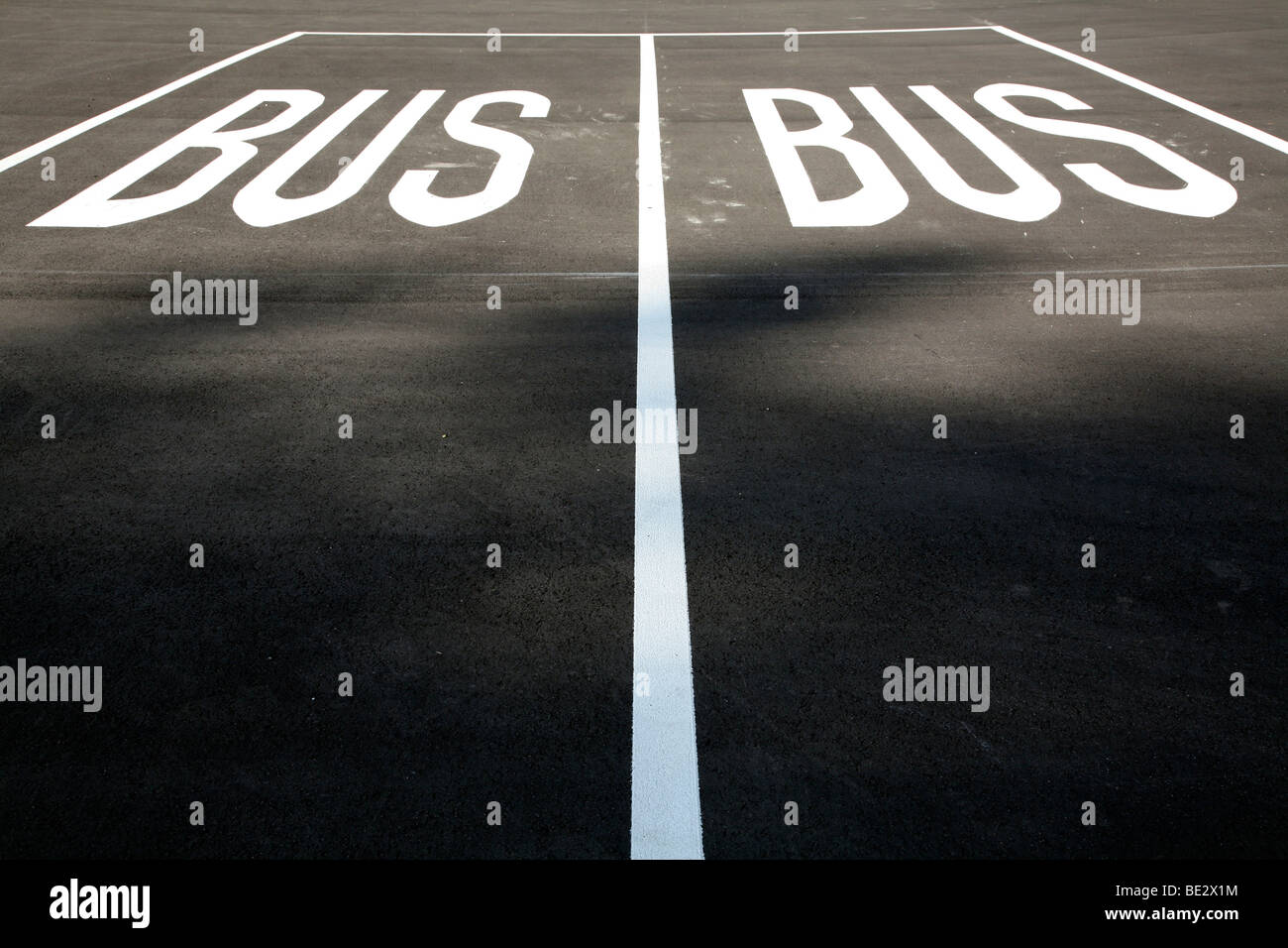 Bus parking spaces, Germany, Europe - Stock Image