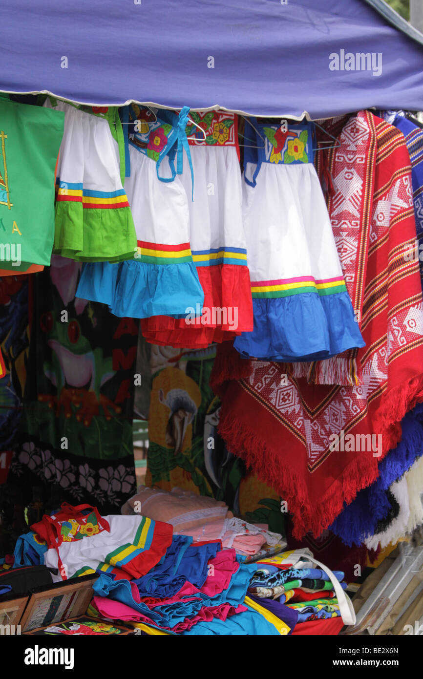 Street market at Plaza Catedral of the Casco Viejo of Panama City. Stock Photo