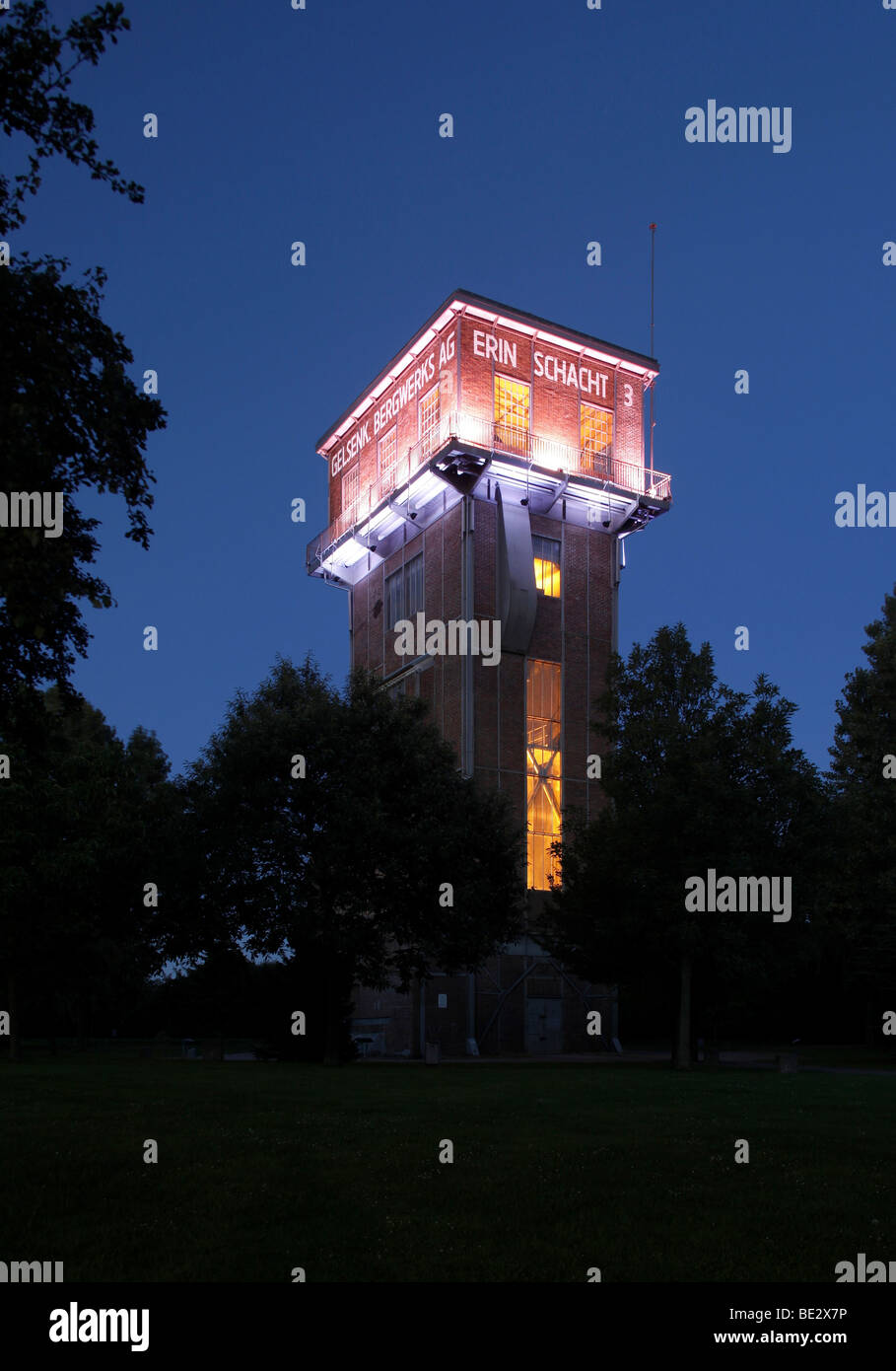 Hammerhead tower of the former Erin colliery, Castrop-Rauxel, Ruhr Area, North Rhine-Westphalia, Germany, Europe - Stock Image