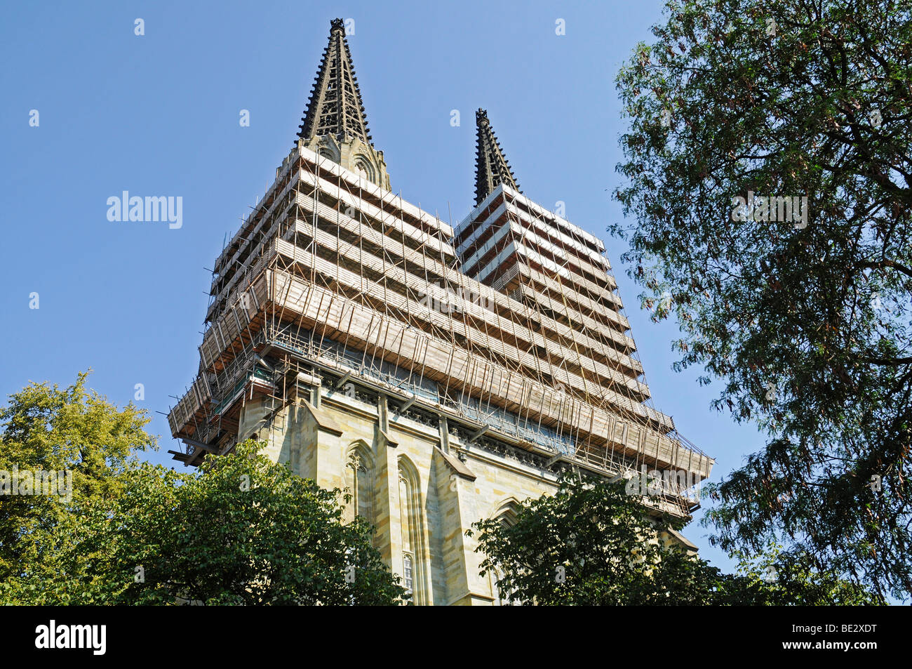 Restoration of church steeples, St. Maria zur Wiese, Wiesenkirche Church, Soest, North Rhine-Westphalia, Germany, - Stock Image