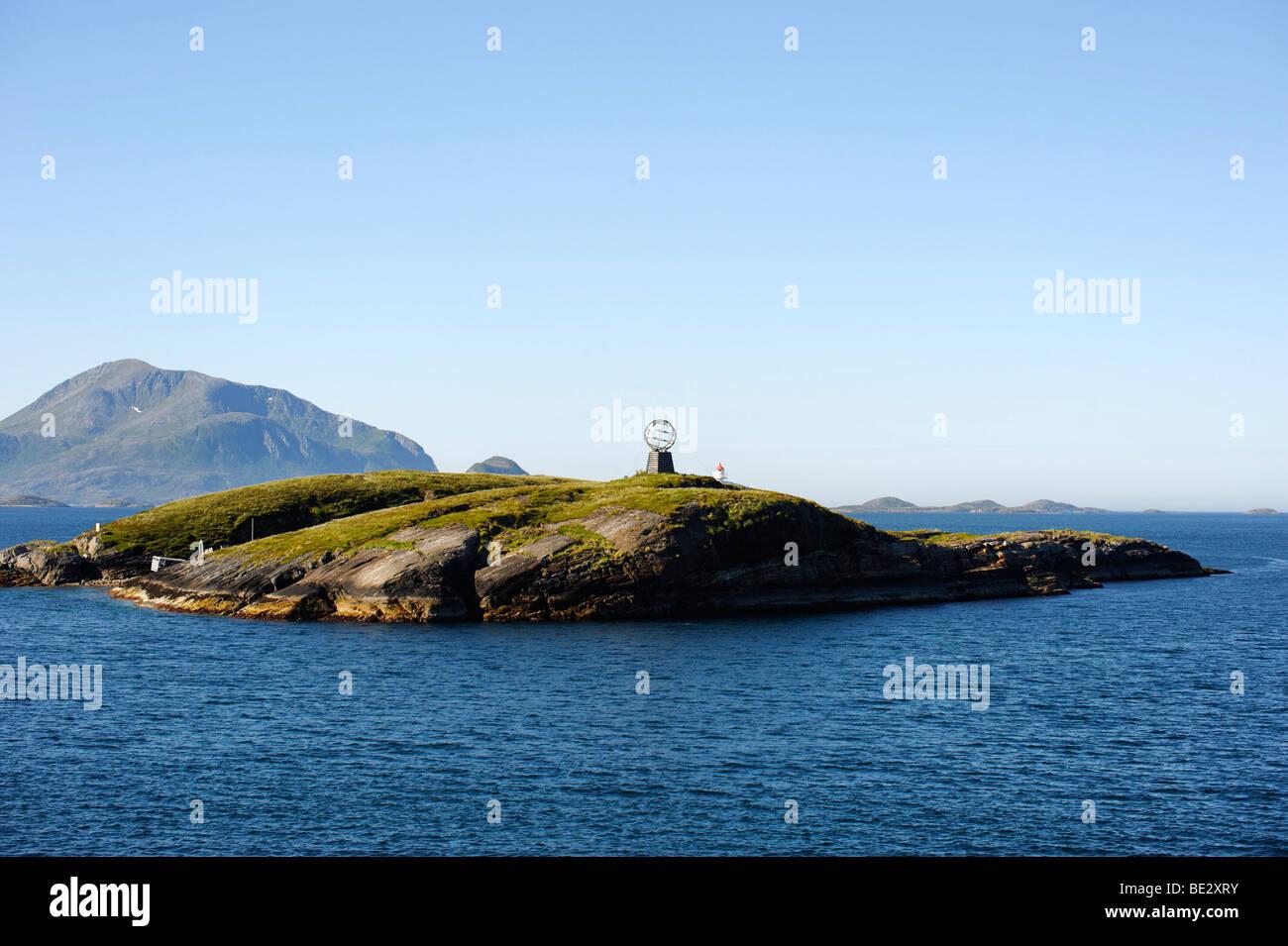 Landmark polar circle, Norwegian Sea, Norway, Scandinavia, Europe - Stock Image