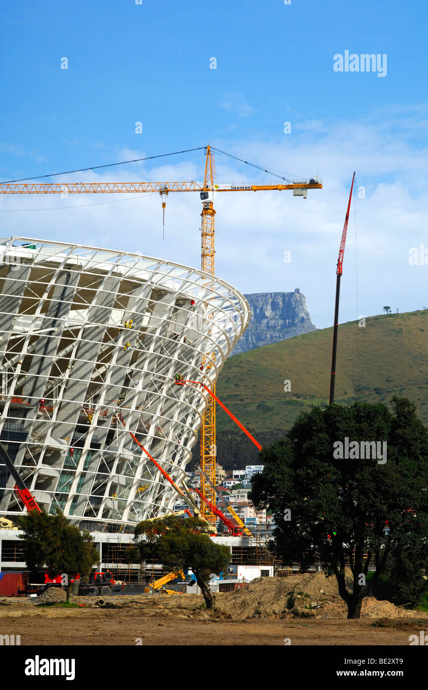 Soccer World Championship 2010, Green Point Soccer Stadium under construction, peak of the Table Mountain at back, Stock Photo
