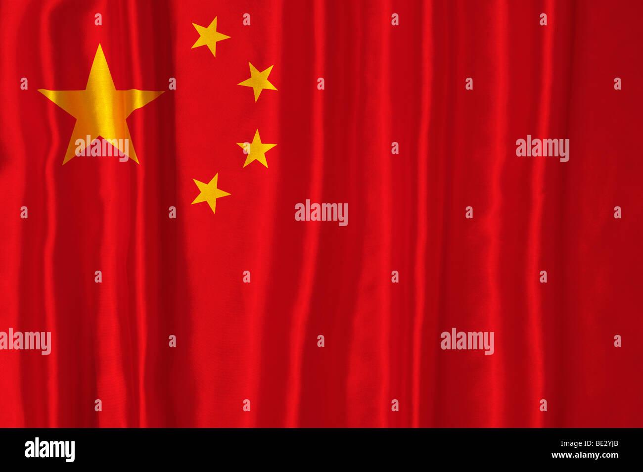 Rippled Chinese flag - Stock Image