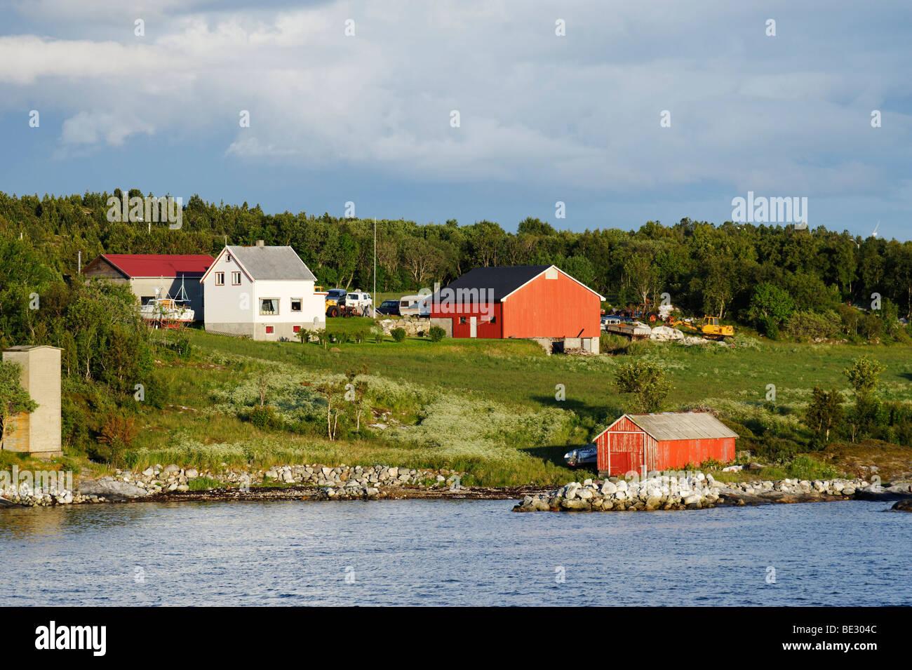 Single-family homes at the shore, Rorvik, Norway, Scandinavia, Europe - Stock Image