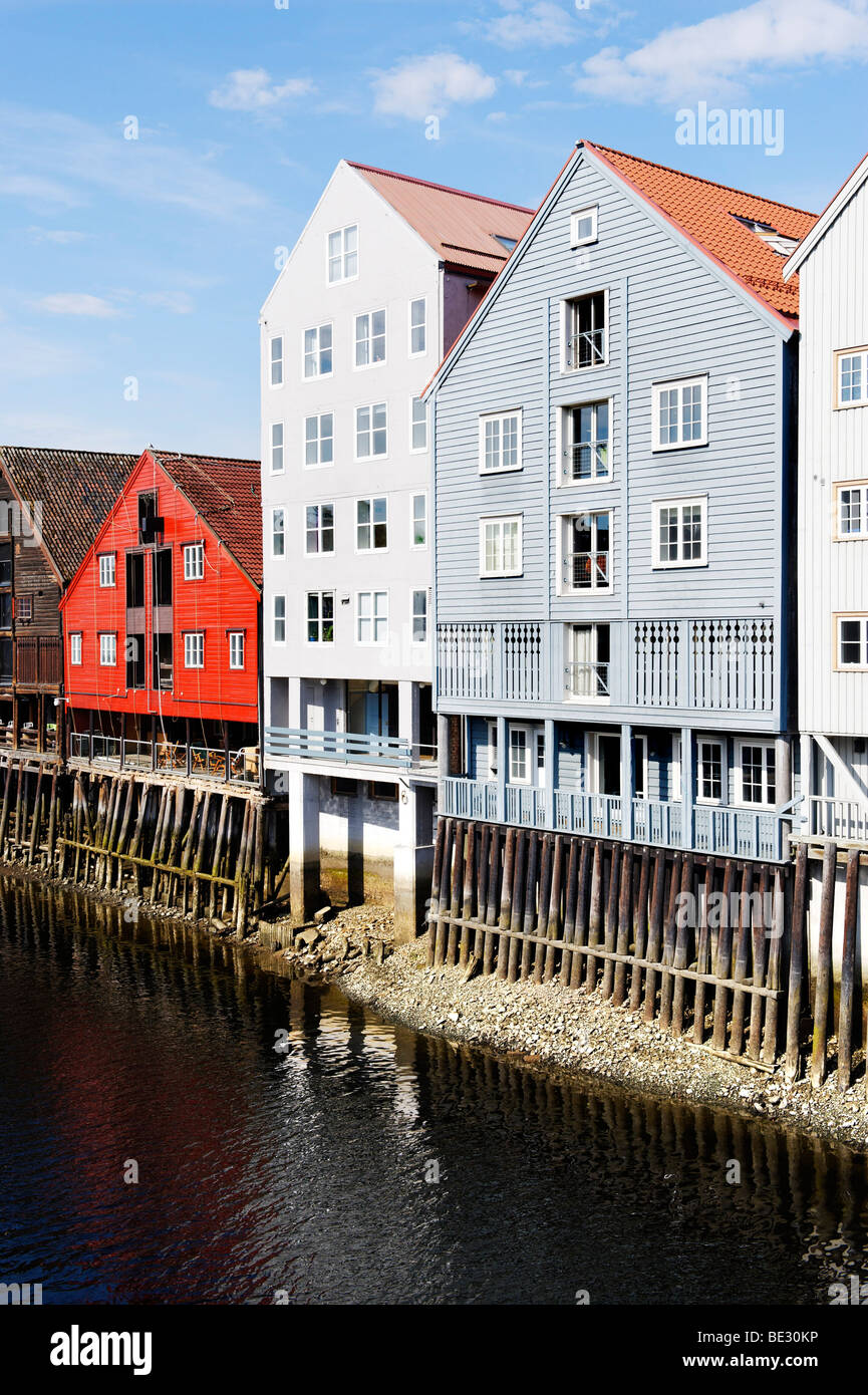Former trading houses at the Kjopmannsgata on the river Nidelva, Trondheim, Norway, Scandinavia, Europe Stock Photo