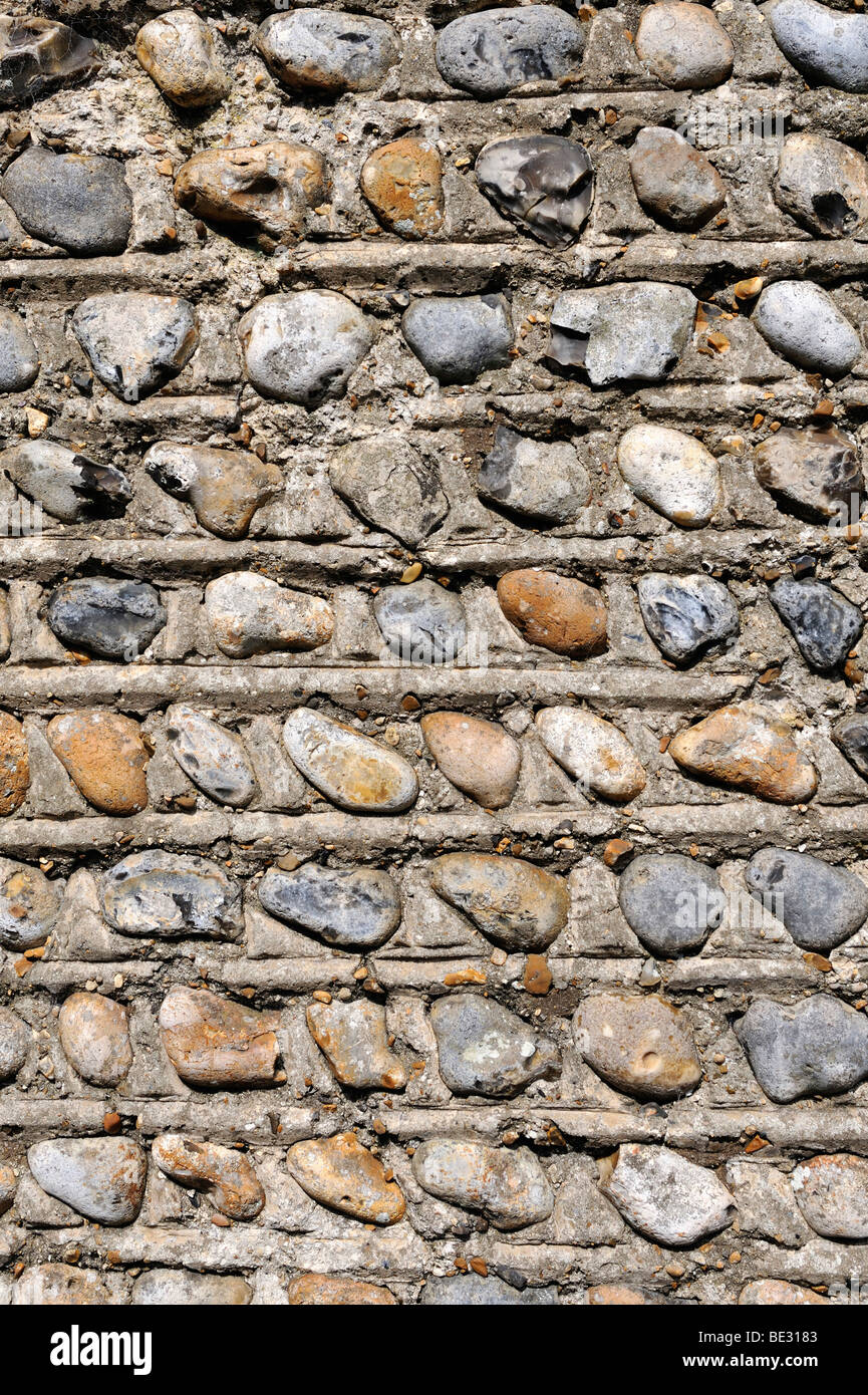 Flint as a building material for the traditional walls and facades in Southern England, England, UK, Europe - Stock Image