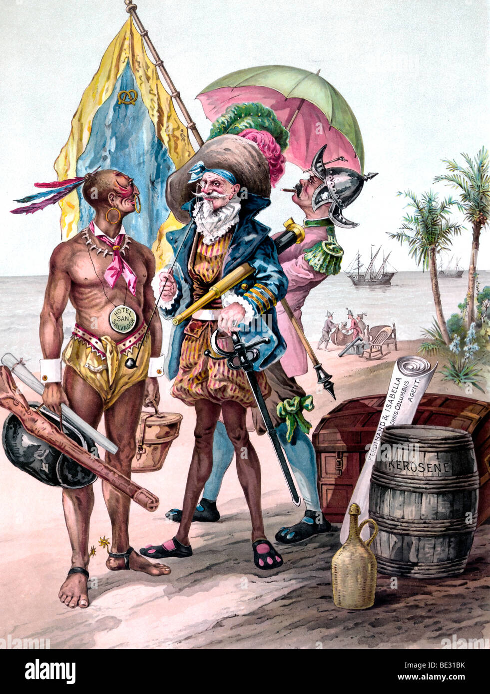 The landing of Christopher Columbus - A satirical look - Stock Image