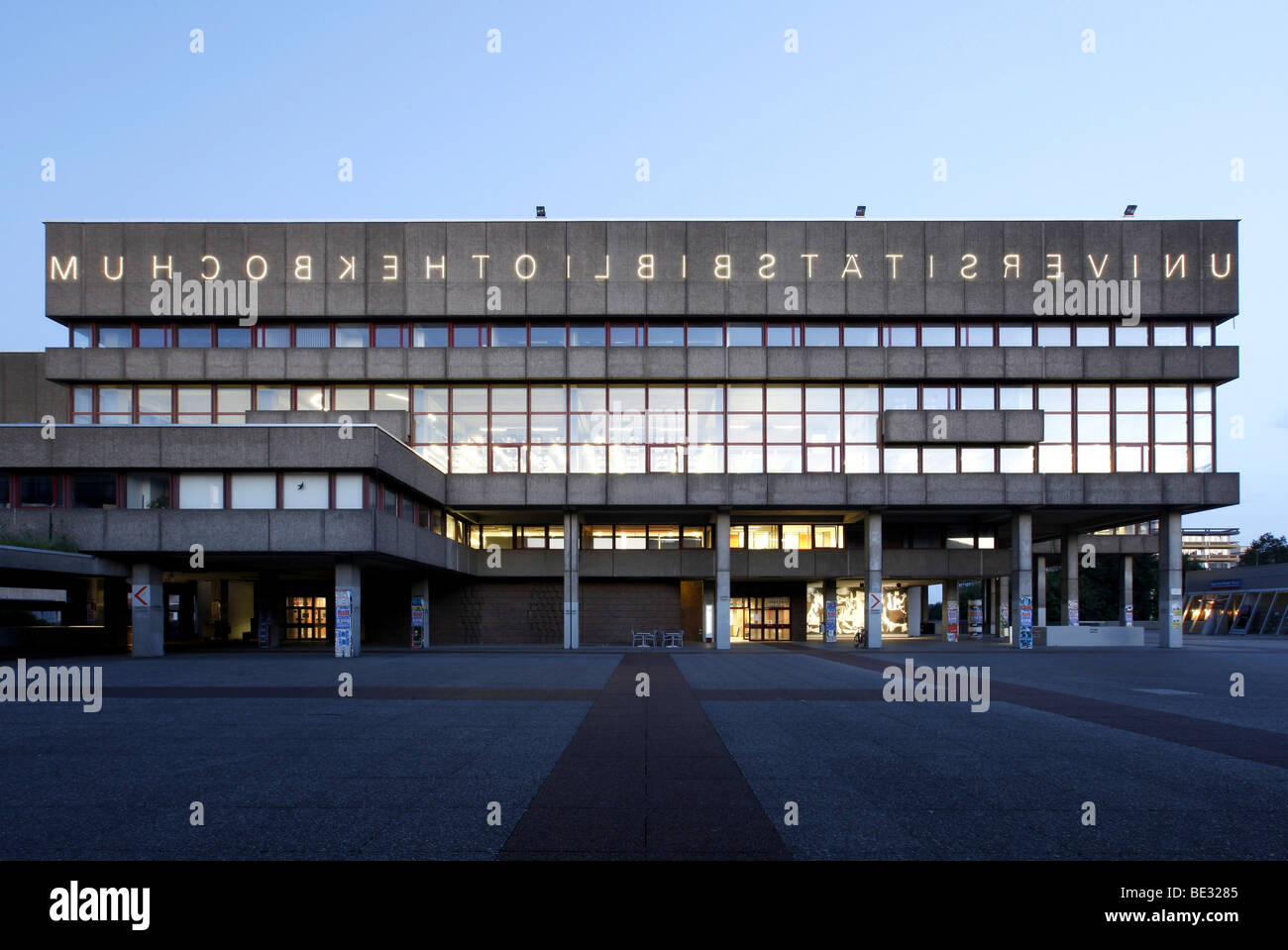 University Library of the Ruhr University Bochum, with mirrored lettering, Bochum, Ruhr, North Rhine-Westphalia, - Stock Image