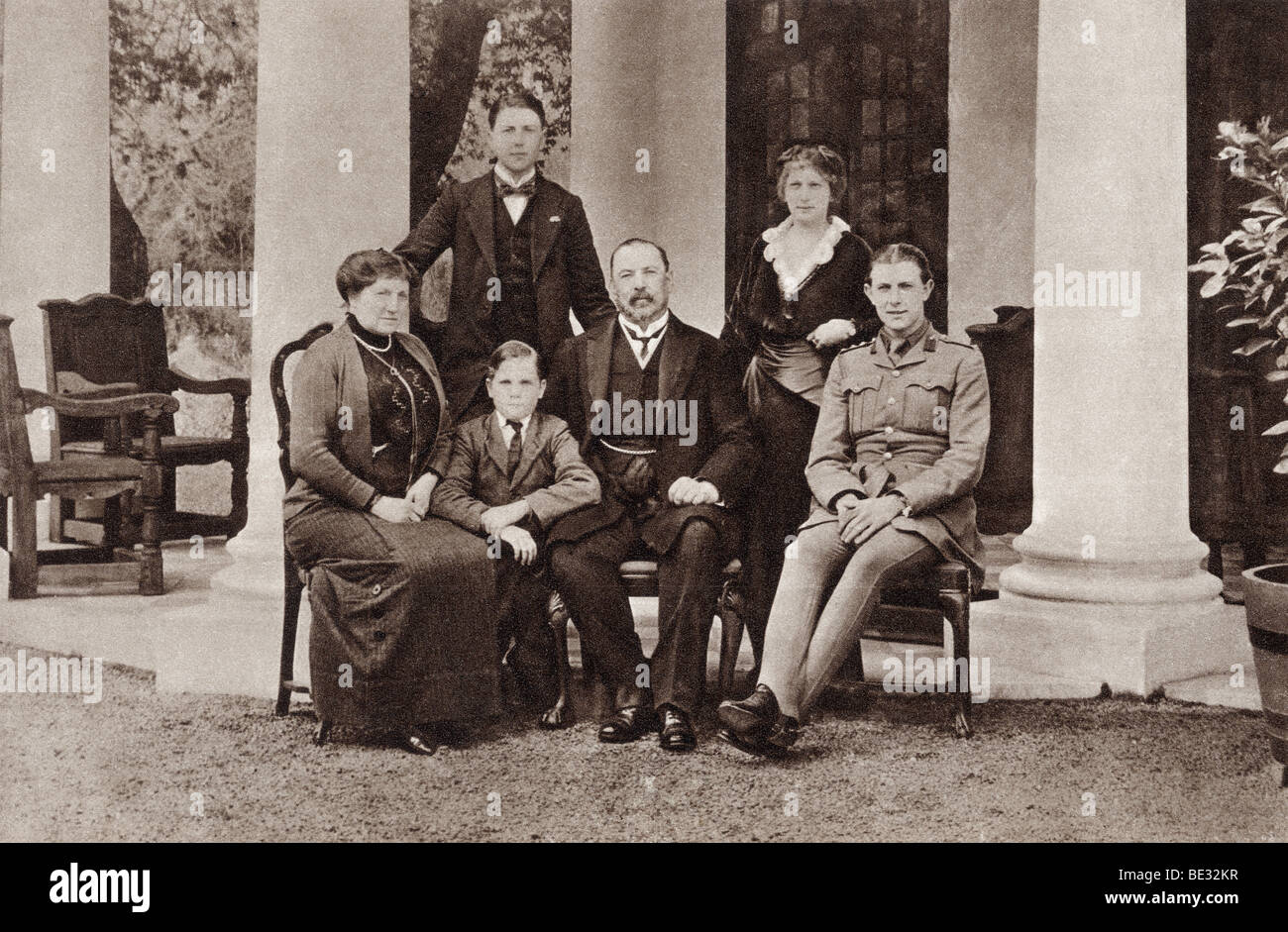 Louis Botha and his family. Louis Botha, 1862 to 1919. Afrikaner and first Prime Minister of the Union of South - Stock Image