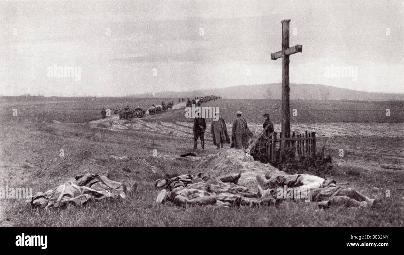 Dead soldiers on the battlefield after the Russian victory at Kielce, Poland during World War I. - Stock Image