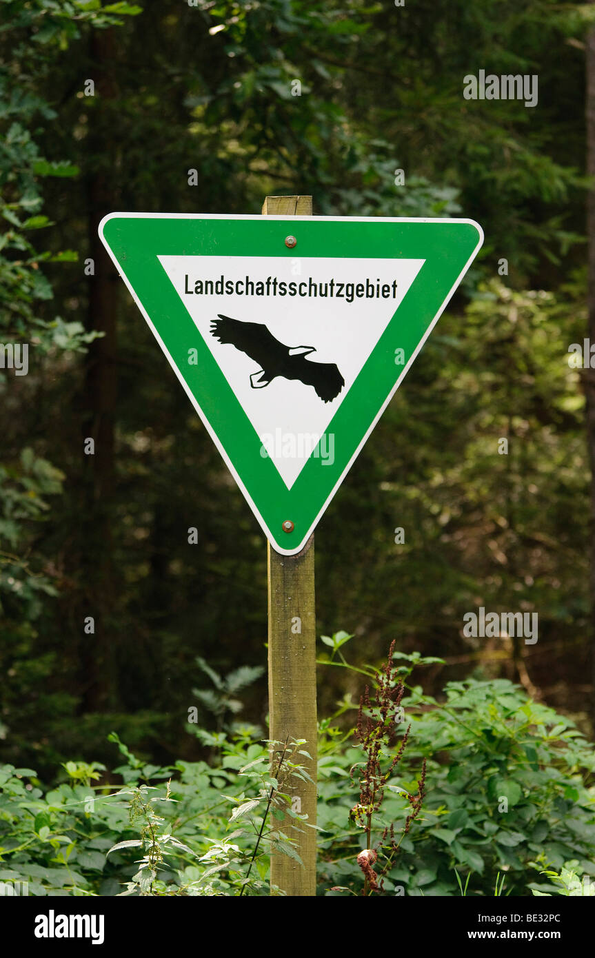 Sign, protected area, Lower Saxony, Germany, Europe - Stock Image