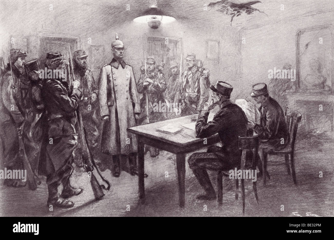 A captured German officer being examined by members of French general staff during World War I. - Stock Image