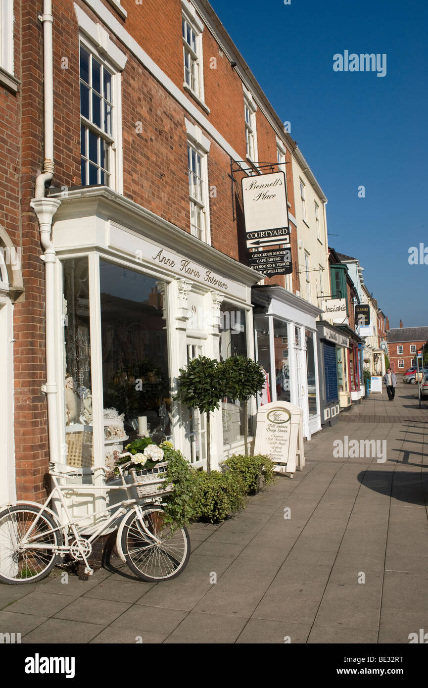 Empty street and shops Market Harborough, Leicestershire - Stock Image