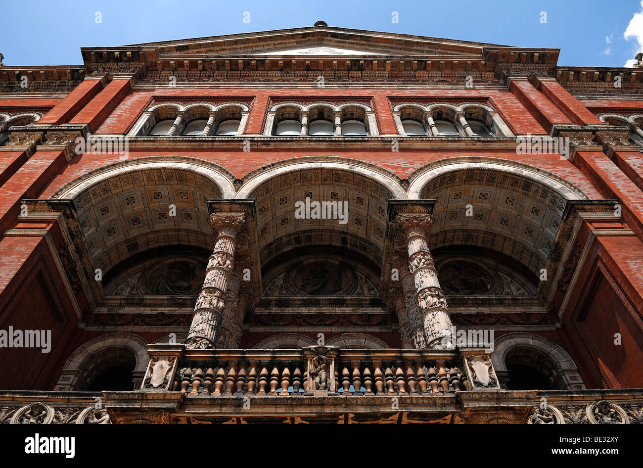 Gallery of the Victoria & Albert Museum, detail, seen from the courtyard, 1-5 Exhibition Road, London, England, Stock Photo