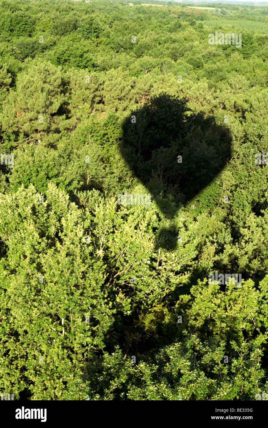 aerial view from hot air balloon basket looking down over forest in the Dordoigne, France - Stock Image
