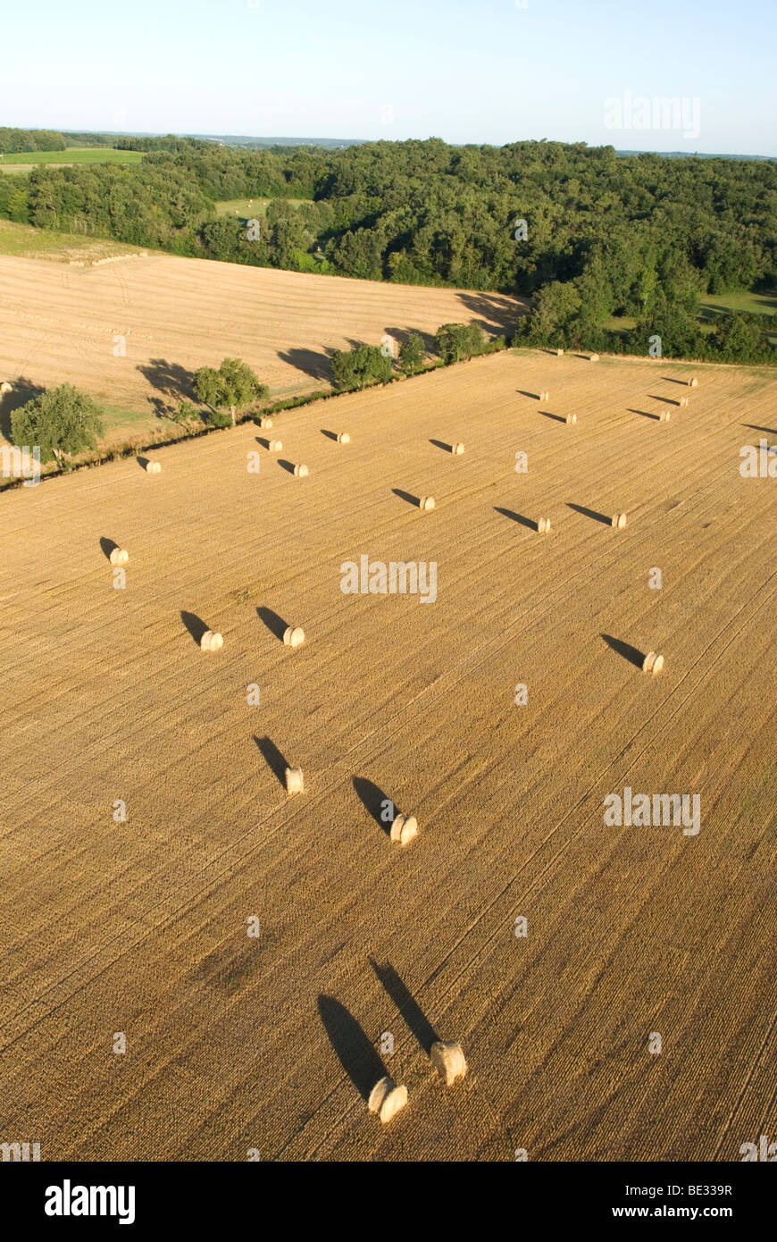 view from hot air balloon over harvested fields in the Dordoigne, France - Stock Image