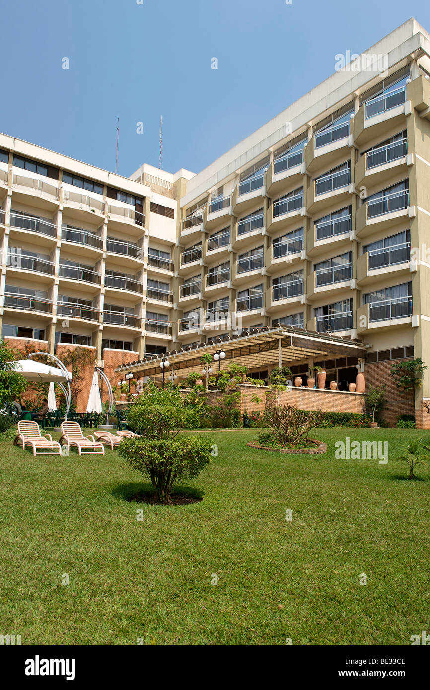The exterior of the Hotel des Mille Collines in Kigali, Rwanda. It is the setting of the movie Hotel Rwanda. - Stock Image