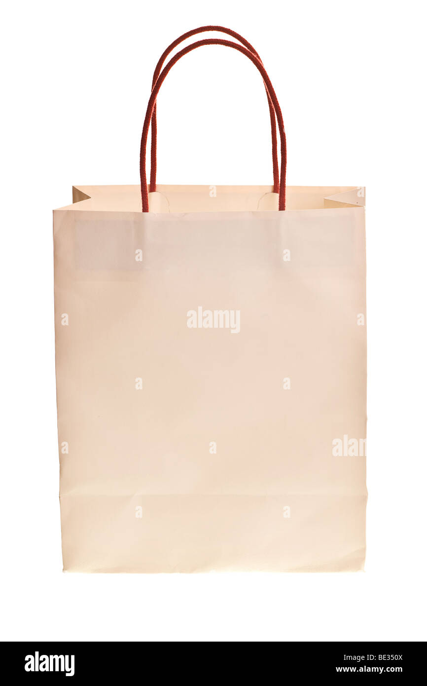 fd1de2aeaa white shopping bag with red handles isolated on white background - Stock  Image
