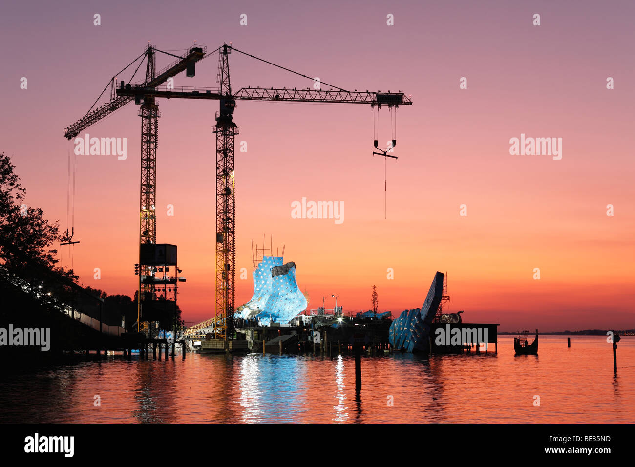 Stage for the opera Aida, Seebuehne Bregenz floating stage, Bregenzer Festspiele Festival, Lake Constance, Vorarlberg, - Stock Image