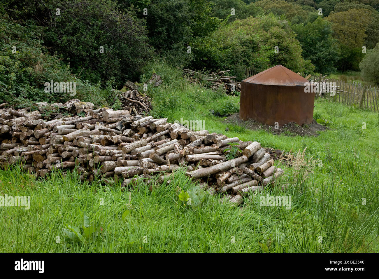 A Charcoal burning kiln in alder woodland near Aber Falls,  in Snowdonia National Park, Wales - Stock Image