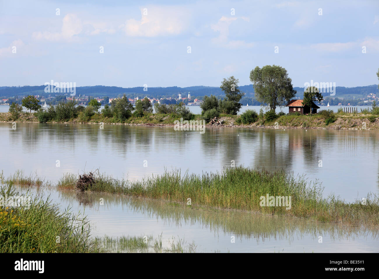 Mouth of the Rhine into Lake Constance, Rohrspitz am Fussach, Lindau at the rear, Vorarlberg, Austria, Europe - Stock Image