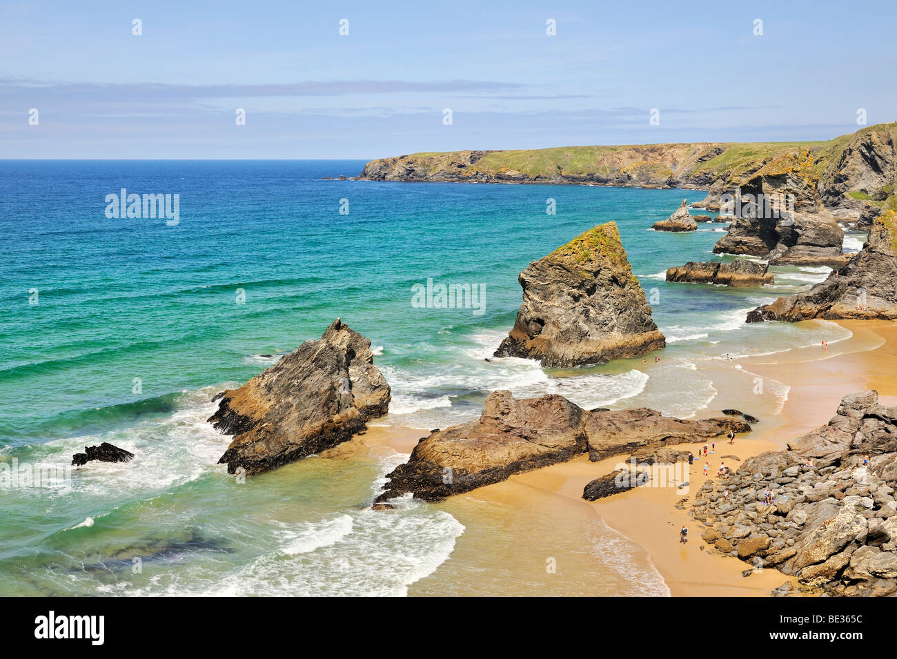Cliff formation Bedruthan Steps in Newquay on the north coast of Cornwall, England, United Kingdom, Europe - Stock Image