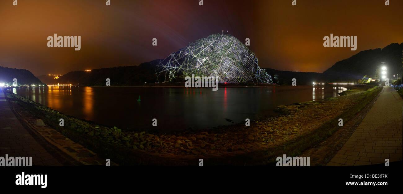 Light installation by light artist Ingo Bracke at the Rock of Lorelei on the Rhine river near St. Goar, Rhineland - Stock Image