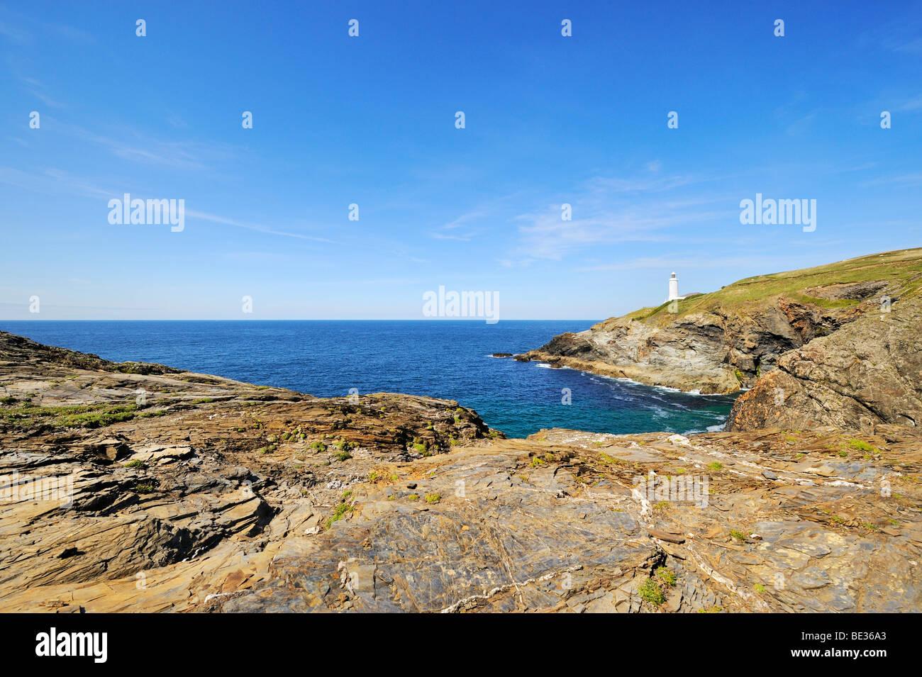 Shale rock on the coast of Trevose Head on the north coast of Cornwall, England, United Kingdom, Europe - Stock Image