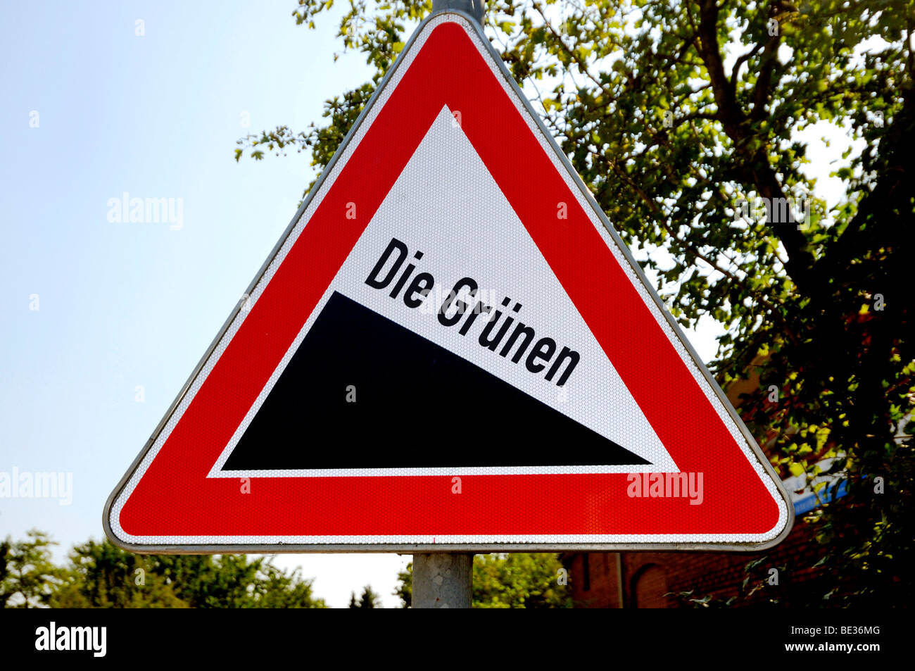 Sign slope or decline with name of the party Die Gruenen, the Green Party of Germany, symbolic photo for electoral - Stock Image