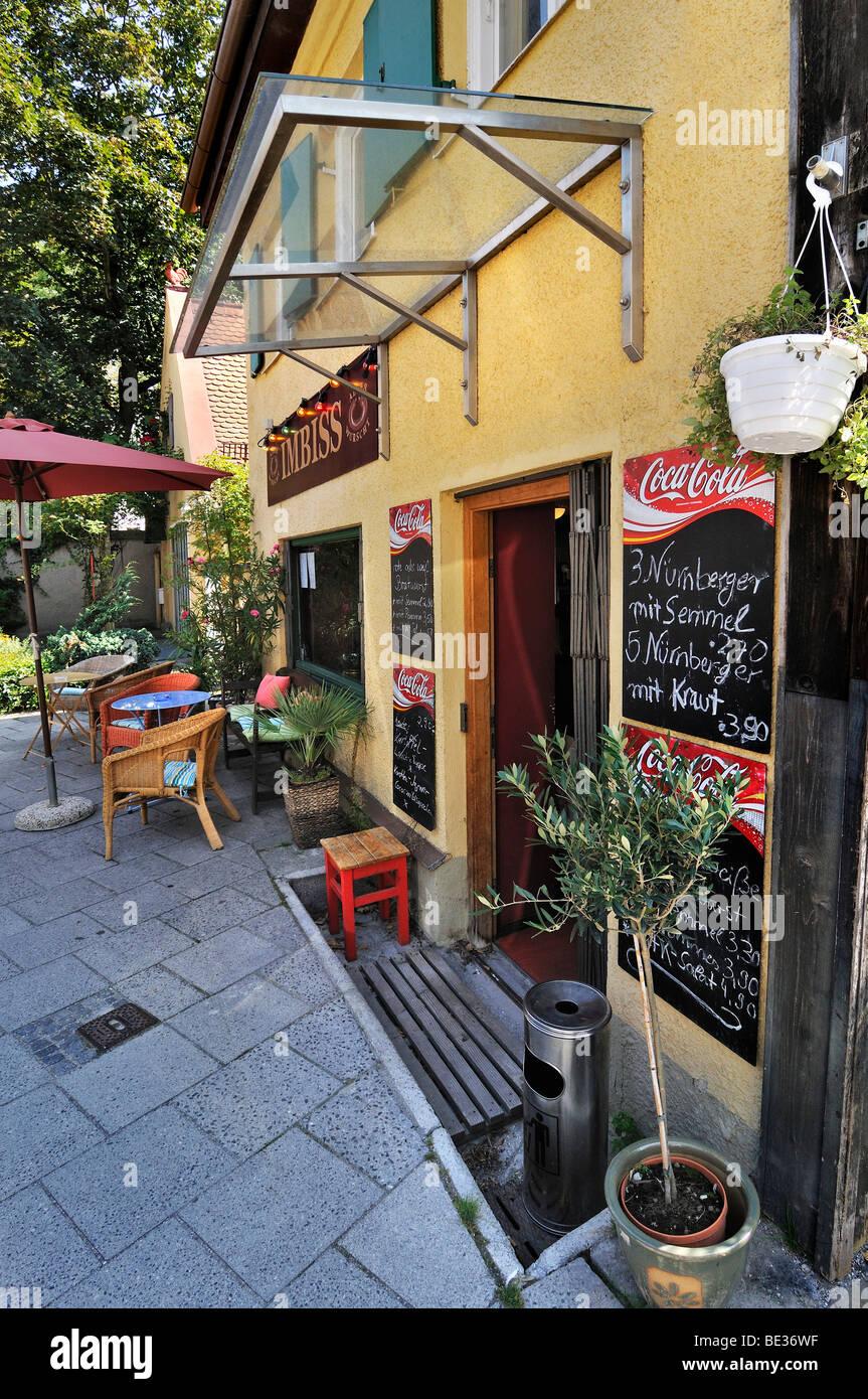 Nikolaistrasse street, idyllic snack bar, Schwabing, Munich, Bavaria, Germany, Europe - Stock Image
