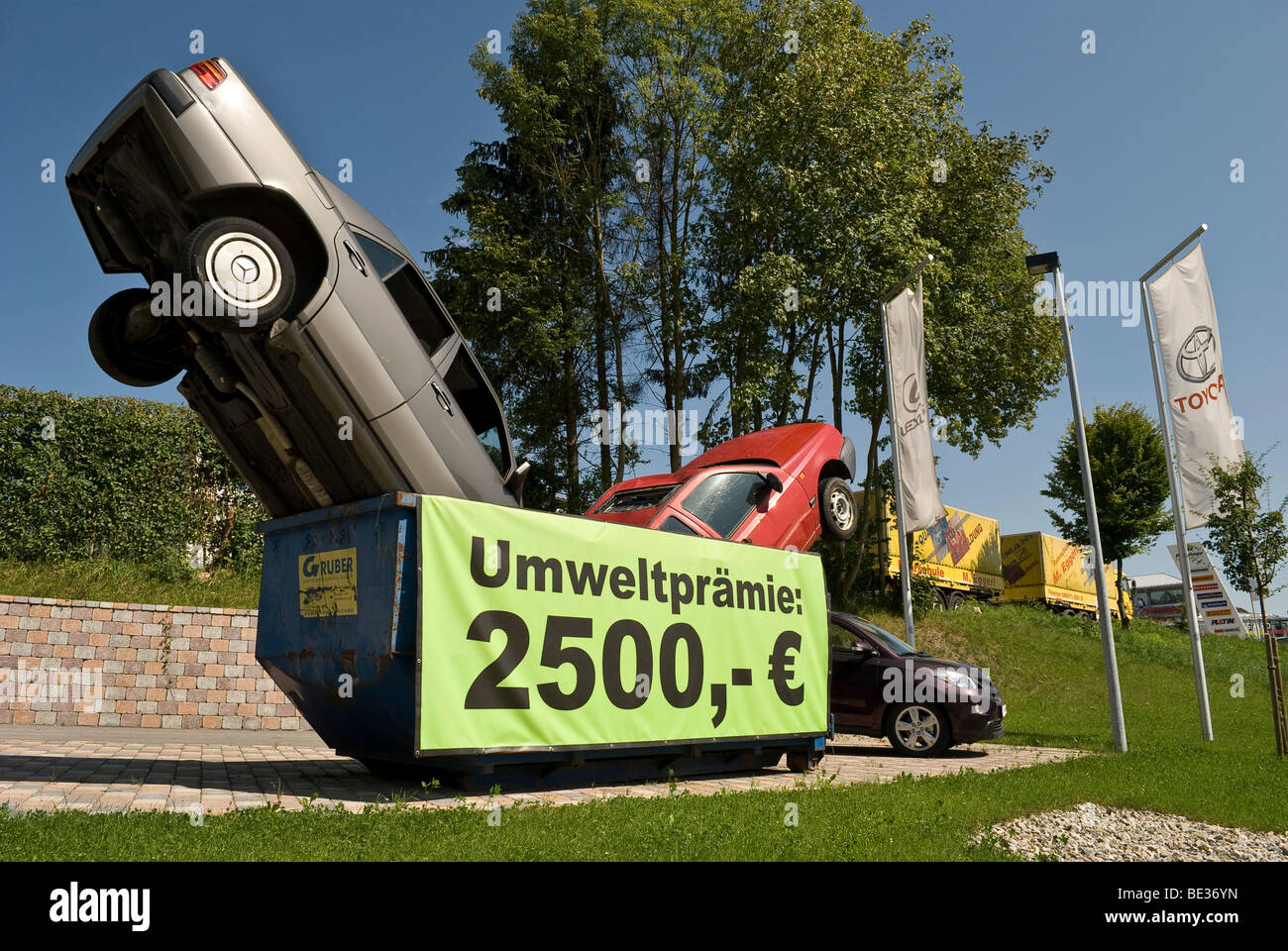 Decoration of a car dealer for the car-scrap bonus in Bavaria, Germany, Europe - Stock Image
