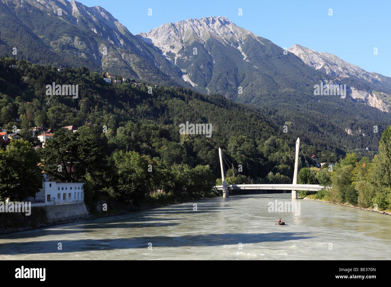 Inn River with a bridge of the Hungerburgbahn railway, Innsbruck, Tyrol, Austria, Europe - Stock Image