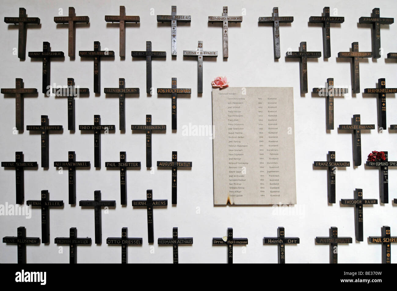 Many crosses, war memorial for the missing and the dead, Stiftskirche St Bonifatius collegiate church, monastery, - Stock Image