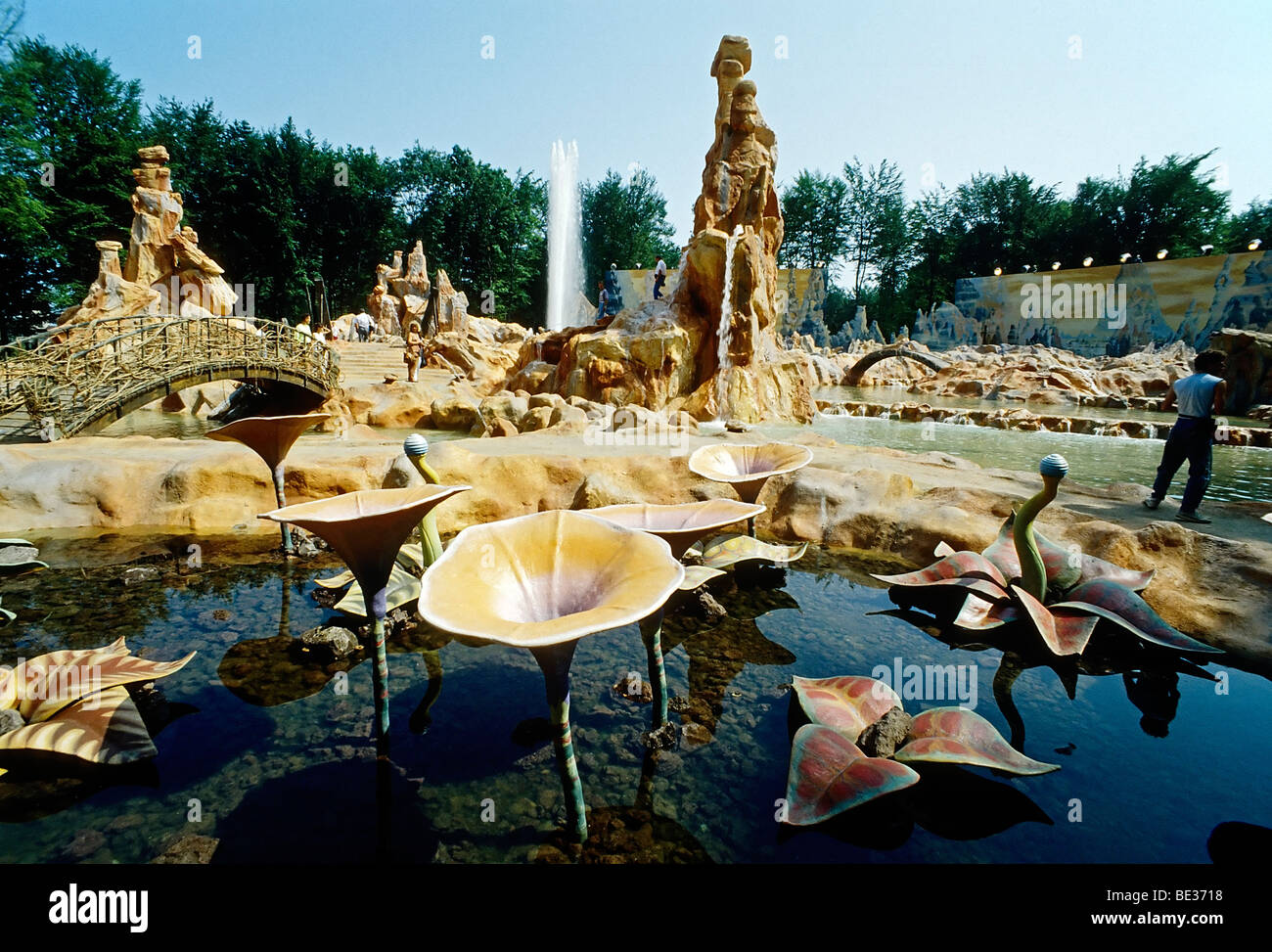 Walkable fantasy landscape with water plants, Warner Brothers Movie World 2003, now Movie Park Germany, Bottrop - Stock Image