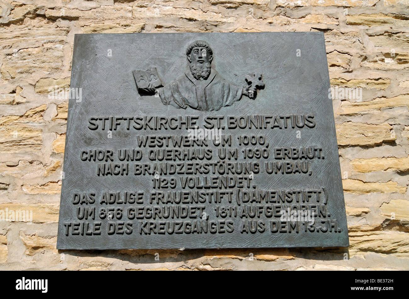 Sign, Stiftskirche St Bonifatius collegiate church, monastery, church, Freckenhorst, Warendorf, Muensterland region, - Stock Image