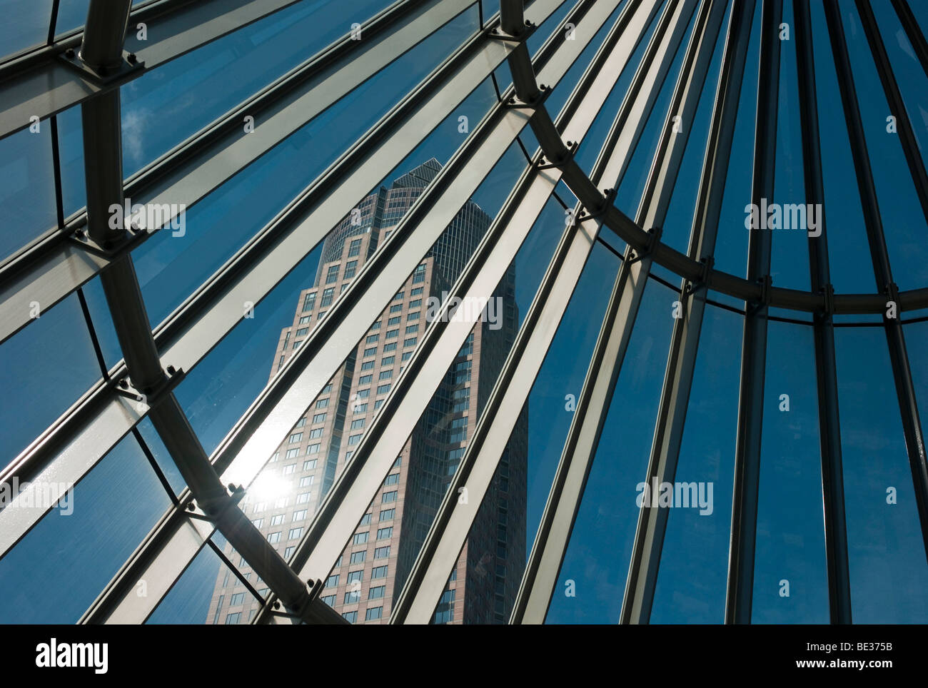 The Messeturm, Fair Tower, 257 meters, seen through the entrance to the subway, Westend, Frankfurt am Main, Hesse, Stock Photo