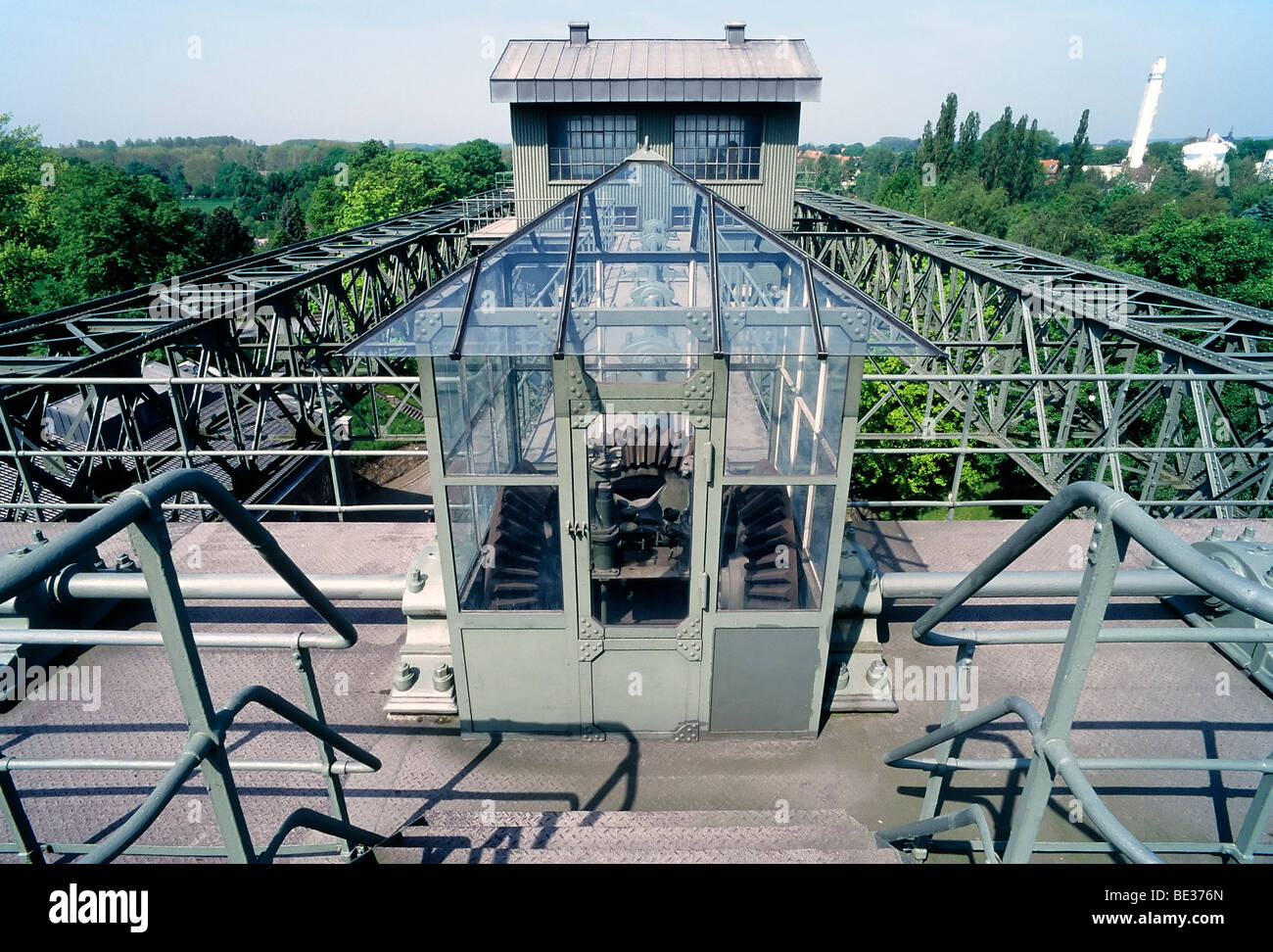 Historic boat lifts Henrichenburg, steel construction, LWL Industrial Museum, Waltrop-Oberwiese, Ruhr area, North Rhine-Westpha Stock Photo