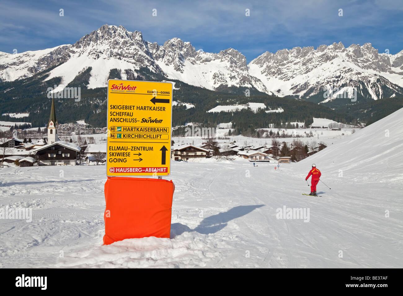 Ellmau ski resort, part of the giant Ski Welt area, Wilder Kaiser mountains beyond, Tirol, Austria - Stock Image