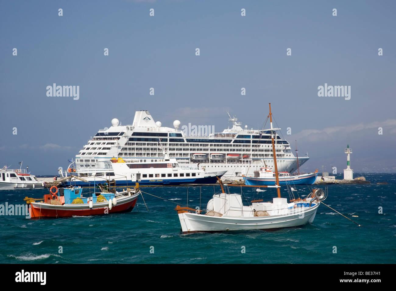 Cruise Ship Azamara Quest Anchored at Mykonos Greece - Stock Image