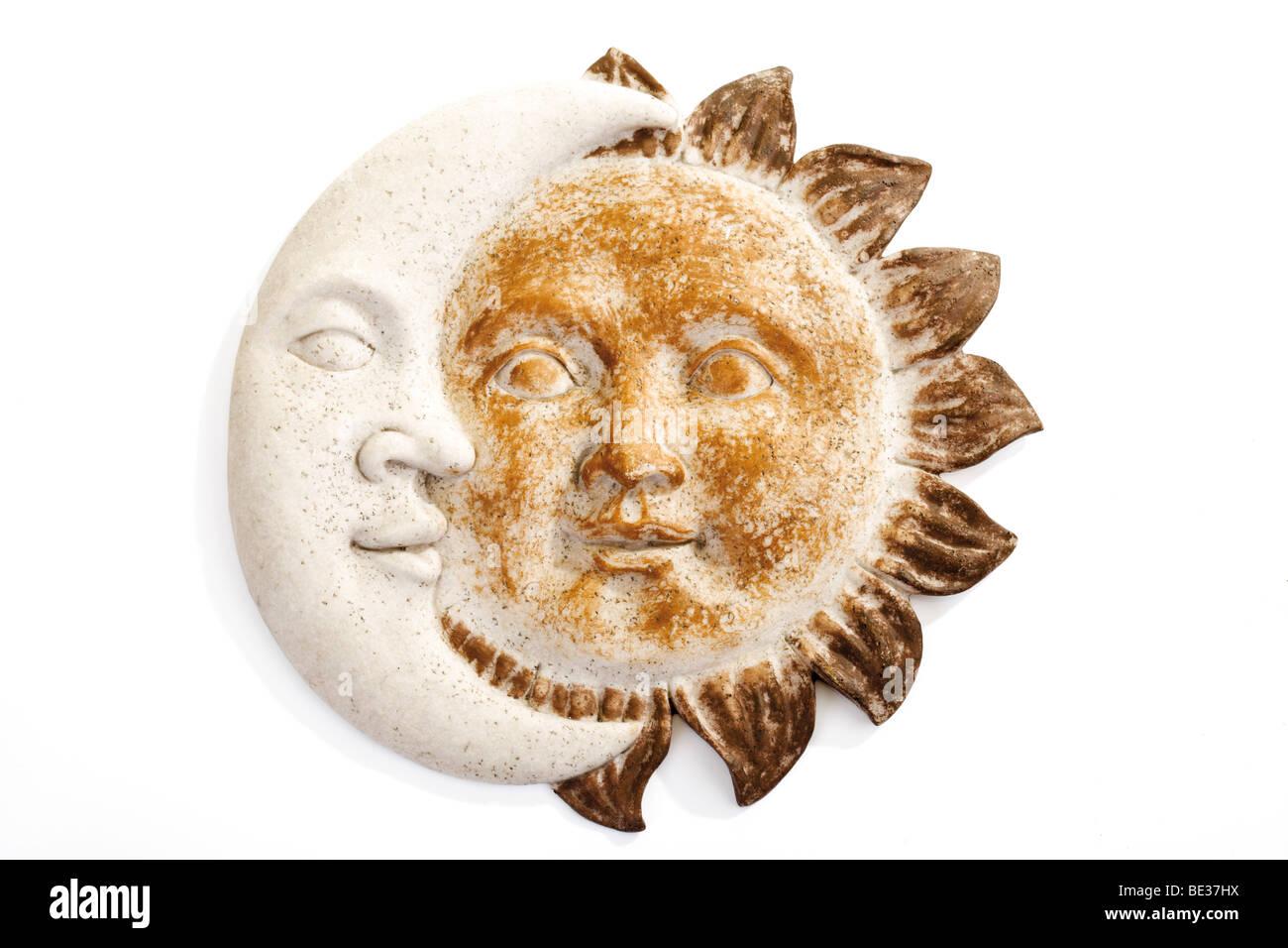 Sun And Crescent Moon Wall Ornament Ceramics Stock Photo 25887398