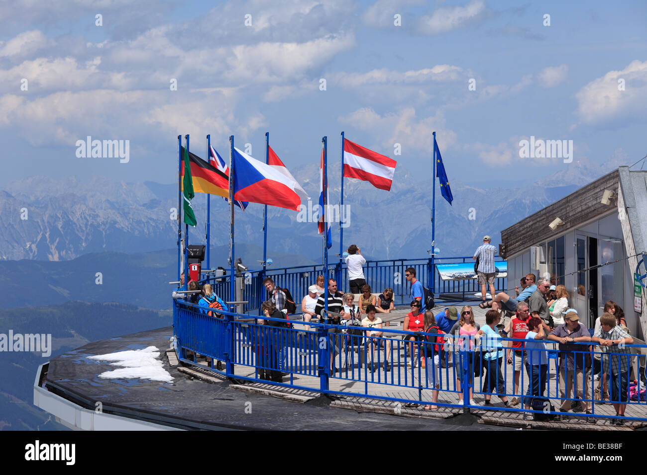 Viewing platform, summit station of the cableway to Kitzsteinhorn mountain, Hohe Tauern, federal state of Salzburg, - Stock Image