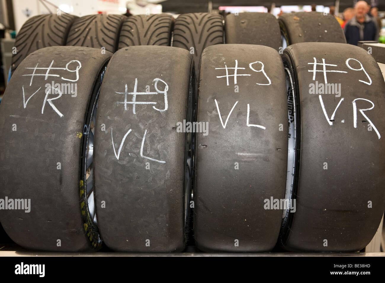 Tires for racing cars, Oldtimer Grand Prix, Nuerburgring, Rhineland-Palatinate, Germany, Europe - Stock Image