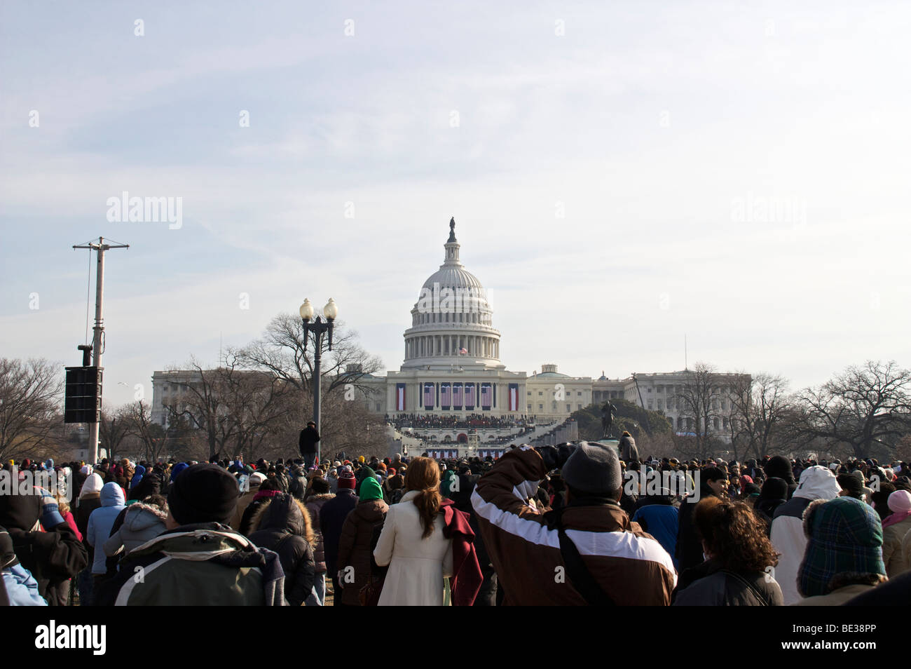 US Capitol building and crowd on National Mall. Inauguration Day 2009. Washington DC - Stock Image