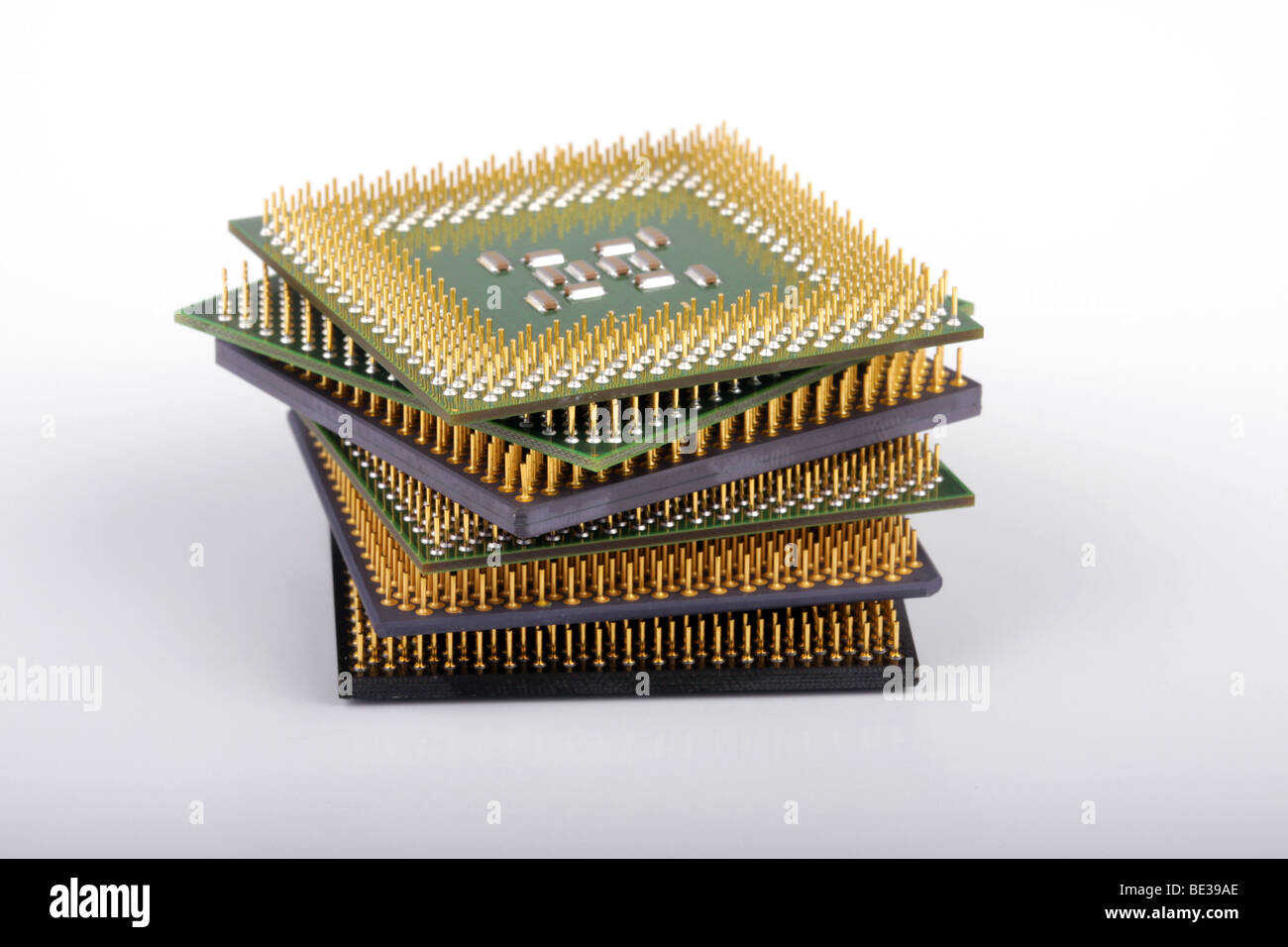 Stack of several central processing units of various types and shapes. - Stock Image